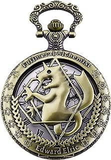 Pocket Watch Fullmetal Alchemist Edward Elric Anime with Fob Chain Necklace Box, Bronze