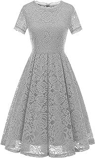 DRESSTELLS Damen Midi Elegant Hochzeit Spitzenkleid Kurzarm Rockabilly Kleid Cocktail Abendkleider