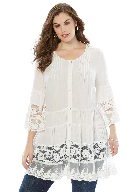 Roamans Women's Plus Size Illusion Lace Tunic