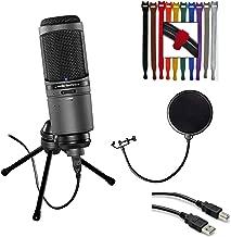 Audio-Technica AT2020USBi Cardioid Condenser USB Microphone + Pop Filter + Hosa USB Extension Cable, 5 feet + Rip-Tie Lite 1/2 x 6 Light-duty Strap Pk of 10 (Rainbow)