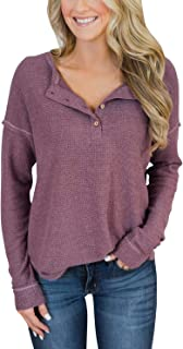 PRETTODAY Women's Long Sleeve Henley Tops Casual Pullover with Buttons Scoop Neck Tunics
