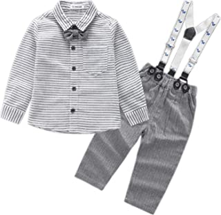 Kimocat Baby Boys 4 pcs Suit Set with Shirt, Jacket, Suspender Pants and Bow Tie Gentleman Tuxedo Formal Wear