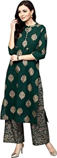GoSriKi Women's Rayon Golden Foil Printed Straight Kurta With Palazzo
