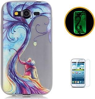 CaseHome Compatible For Samsung Galaxy Grand Neo Plus (I9060) Luminoso Funda Gel de Silicona Suave Transparente TPU Caucho Proteccion Espalda Caso CubrirEstuche Cubierta-Pareja Amor Árbol