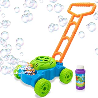 ArtCreativity Bubble Lawn Mower - Electronic Bubble Blower Machine - Fun Bubbles Blowing Push Toys for Kids - Bubble Solut...