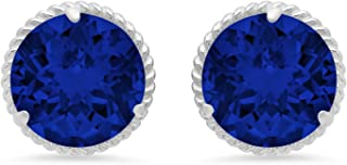 Certified 14k White or Yellow Gold Roped Halo Round-Cut Gemstone Stud Earrings (8mm)