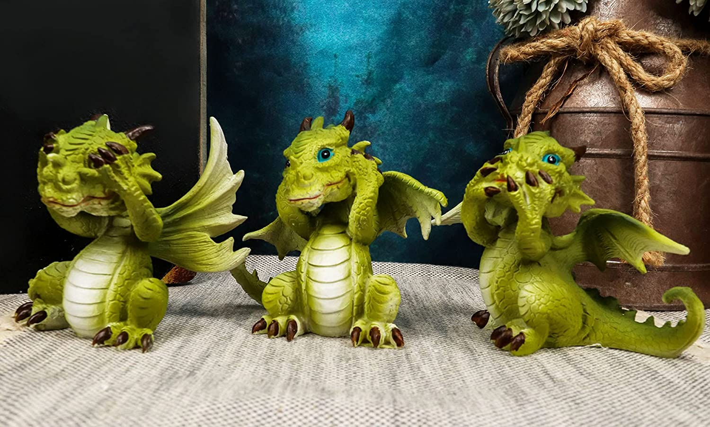 Ebros Gift Three Wise Deluxe Dragon Set No favorite Sentinel Evil Speak See Hear