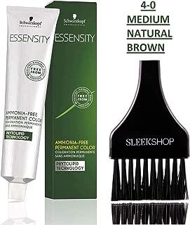 Schwarzkopf ESSENSITY Ammonia-Free PERMANENT HAIR COLOR (with Sleek Tint Applicator Brush) Haircolor with Phytolipid Technology (4-0 Medium Natural Brown)