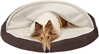FurHaven Pet Dog Bed   Orthopedic Round Faux Sheepskin Snuggery Burrow Pet Bed for Dogs & Cats, Espresso, 44-Inch