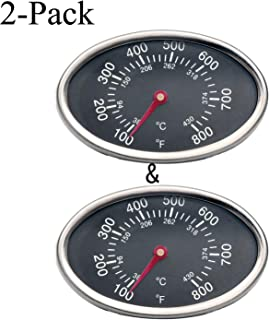 GasSaf 3 inch GP551 Heat Indicator Stainless Steel Lid Thermometer Temperature Gauge Replacement for Grill Master 720-0697 4 Burner, Aussie, Brinkman and Others(Set of 2-Pack)