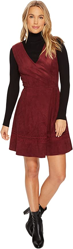 Lynne Faux Suede Fit & Flare Dress