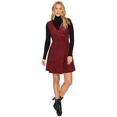 BB Dakota Lynne Faux Suede Fit Flare Dress (Bordeaux) Women