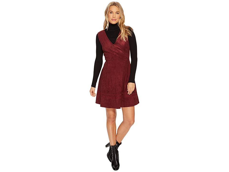 BB Dakota Lynne Faux Suede Fit Flare Dress (Bordeaux) Women