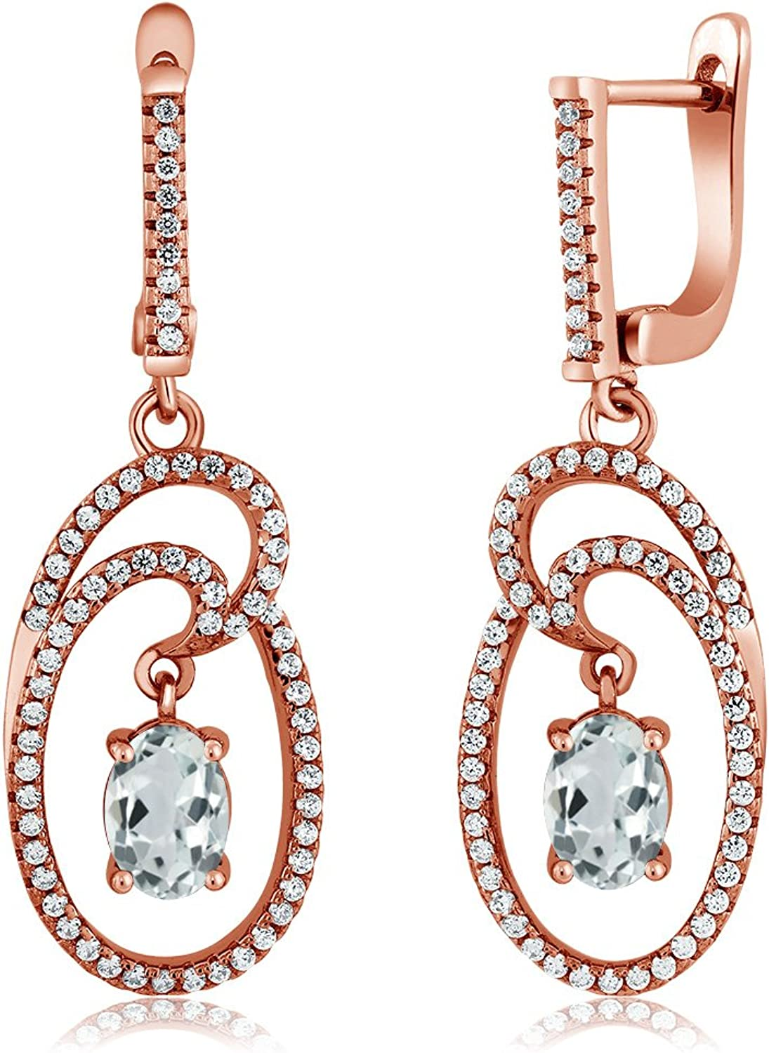2.88 Ct Oval Sky bluee Aquamarine 18K pink gold Plated Silver Earrings