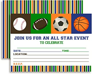 All Star Sports Birthday Party Invitations, 20 5
