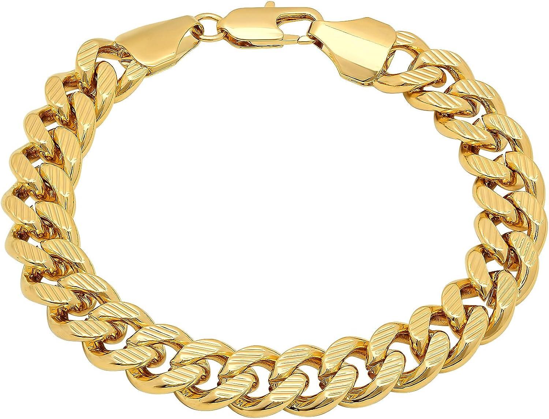 Men's 11mm Diamond-Cut 14k Yellow Denver Mall Gold Miami Flat Curb Plated Cu Ranking TOP12