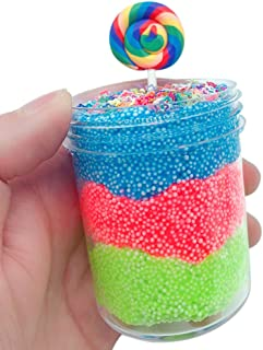F_Gotal Squishies Slow Rising Jumbo Tricolor Lollipop Mud Mixing Cloud Slime Kawaii Squishy Toys Cream Scented Stress Relief Squeeze Toys for Kids Adult Gifts