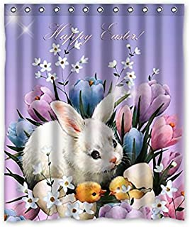 FMSHPON Happy Easter Rabbit Waterproof Polyester Bathroom Shower Curtain Size 60 X 72 Inches
