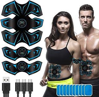 【2021最新版】EMS 腹筋 ベルトUSB充電式 液晶表示 腹筋トレーニンダイエット腹筋マシン器具 6種類モード 9段階強度 男女兼用 ジェルシート10枚 日本語説明書
