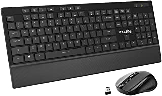 VicTsing Wireless Keyboard and Mouse Combo with 7 Independent Multi-Function Keys, Ultra-Slim Keyboard with Palm Rest, Adjustable DPI Mouse for PC Desktop Computer Laptop Tablet (Black)