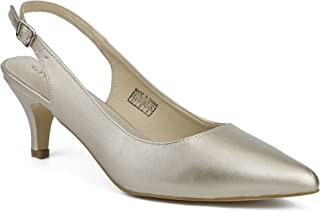 Greatonu Women Shoes Classic Kitten Heels Slingback Pointed Toe Dress Pumps
