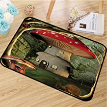 hengshu Mushroom Inlet Outdoor Door mat Shroom House in Enchanted Forest wih Ladybug and Snail Whimsical Tree Catch dust Snow and mud W29.5 x L39.4 Inch Red Pale Coffee Green