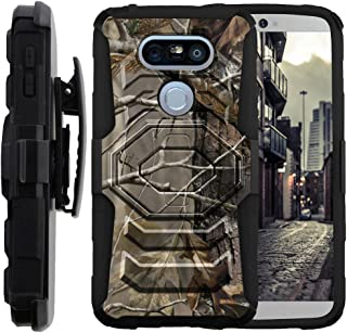 MINITURTLE Compatible with LG G5 [Armor Reloaded] Dual Layer Shell Rugged Hybrid Armor Shell Belt Clip Case Cover Fallen Leaves Camouflage