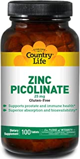 Country Life Zinc Picolinate 25mg, Skincare, Prostate and Immune Health, 100 Vegan Capsules