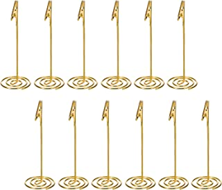 Shappy 12 Packs Table Number Card Holders with Alligator Clip Photo Memo Holder Clips for Wedding Party Favor (Golden)
