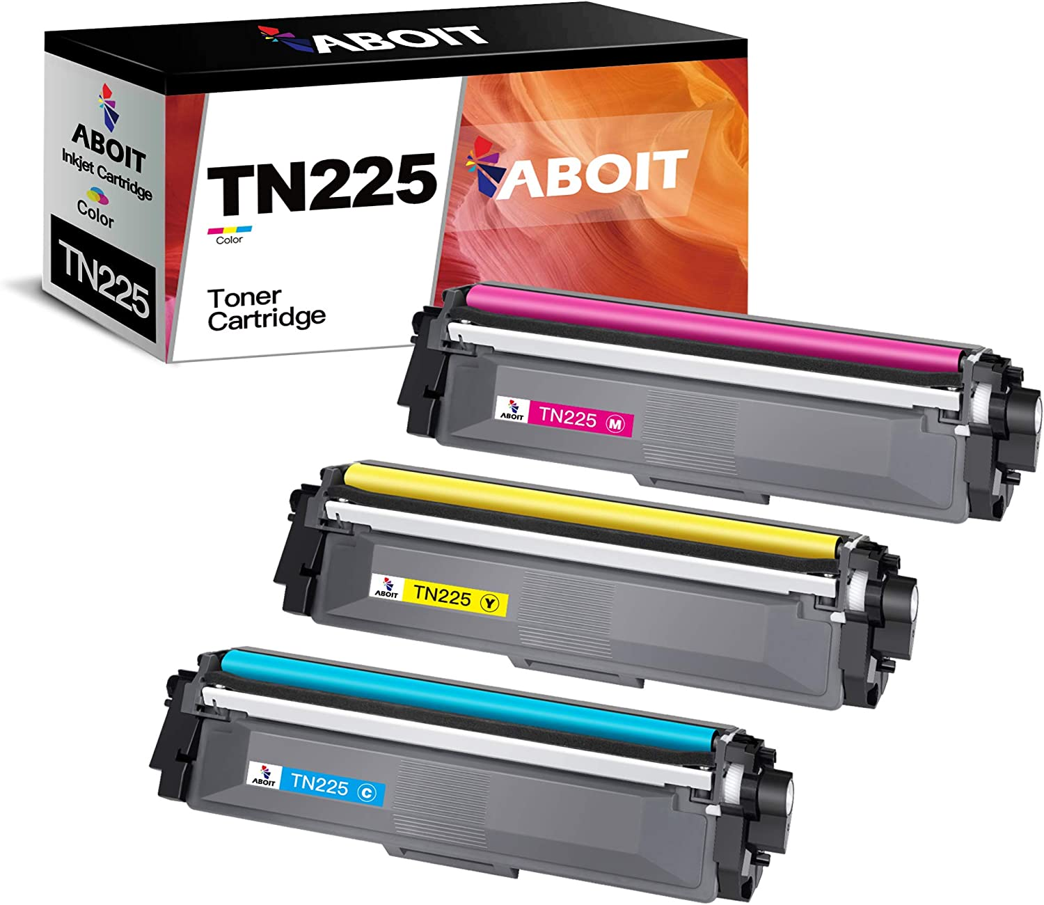 ABOIT Compatible Toner Cartridge Replacement for Brother TN225 TN-225 TN221 TN-221 with Brother HL-3170CDW HL-3140CW HL-3180 MFC-9130CW MFC-9330CDW MFC-9340CDW Printer Tray (Cyan, Magenta, Yellow)