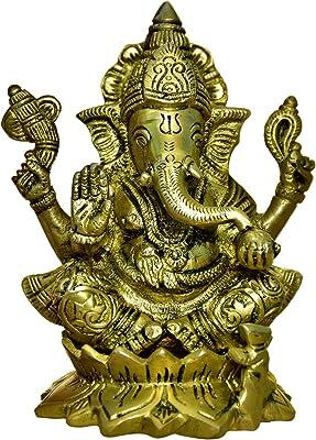 999Store Brass Idol Lord Ganesha Ganpati Pack (Brass_5 x 4 Inch _Golden_ 1.22 kg ) Brass028