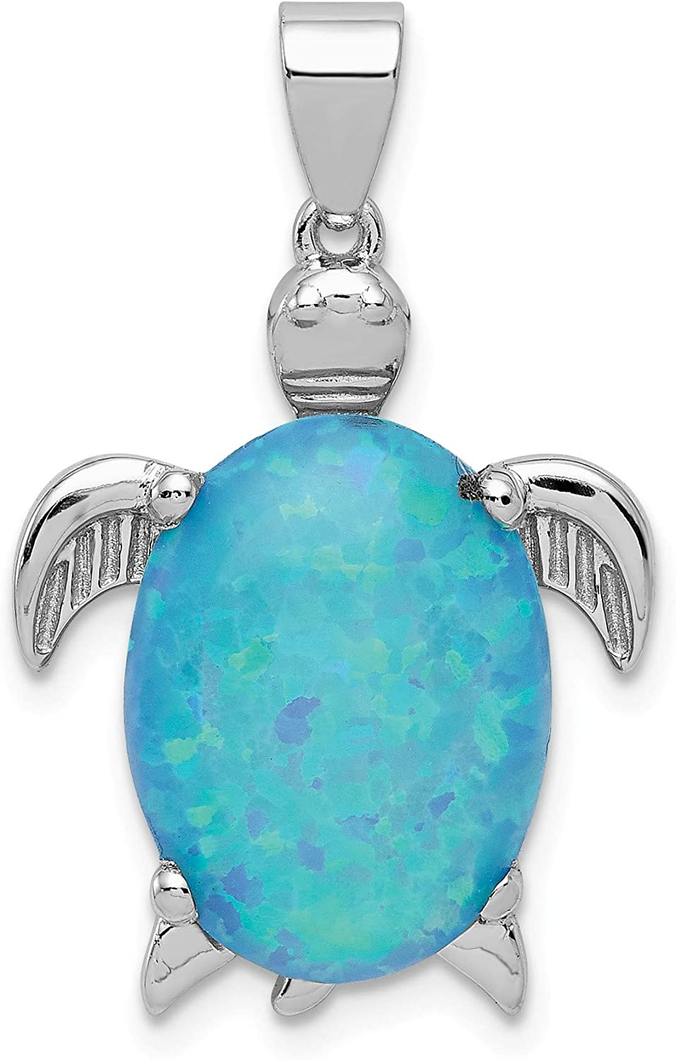 Bonyak Jewelry Sterling Silver Created Opal Inlay Sea Turtle Pendant