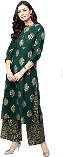 Pinkcity Shades Women Green & Golden Printed Kurta with Palazzos