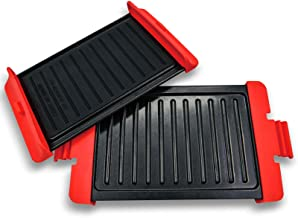 2pcs Sandwich Toaster Accessories Chicken Wing Crisper Grill Pan Microwave Oven(size:L)