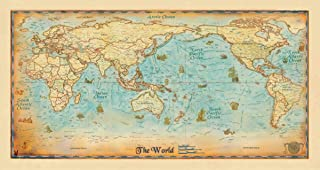 Gifts Delight Laminated 45x24 Poster: World Map - Antique World Wall Map Pacific Centered Zoom