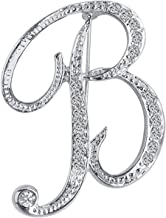 ANTOLL1Pcs A to Z 26 English Letters Silver Plated Metal Clear AAA+ Crystal Lapel Pin Brooches Collar