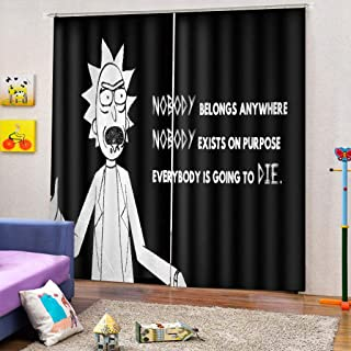 Cartoon Anime 3D Printing Moisture-Proof Mildew-Proof Polyester Window Curtains (B)