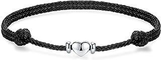 J.Endéar Cavigliera cuore argento 925 donna, cavigliera corda intrecciata a mano 32 cm cavigliera amore regolabile, Regalo...