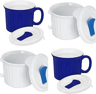 CorningWare Pop in mug, 4 mugs with vented plastic covers (Bake, Microwave) 20 oz/591ml (White/Blue)