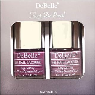 DeBelle Fleur De Pearl Nail Polish combo set of 2, Light Mauve (Laura Aura) & Pastel Purple (Vintage Frost), 16ml (8ml each)