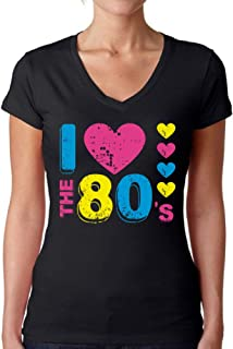 Awkward Styles Women`s I Love The 80`s V-Neck T Shirts for Women for 80`s Fans