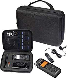 Professional Portable Recorder Case with DIY foam inlay for DR-05, DR-40, DR-22L, DR-100MKll, DR-1, Mini Tripod, Adapter, ...