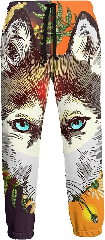Mens Elastic Waist Sweatpants Boho Wolf Floral Joggers Sweatpants for Gym Training Sport Pants
