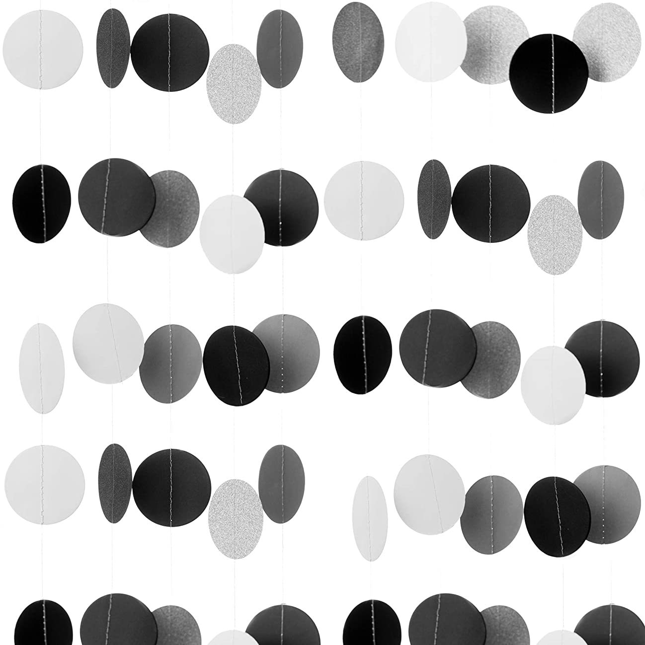 Ella Celebration 3 Pack Paper Garland Decorations, Black and Silver Glitter Circle Dots Hanging Banner, Room Decor for Wedding Christmas Holiday Shower Photo Booth Props (Silver)