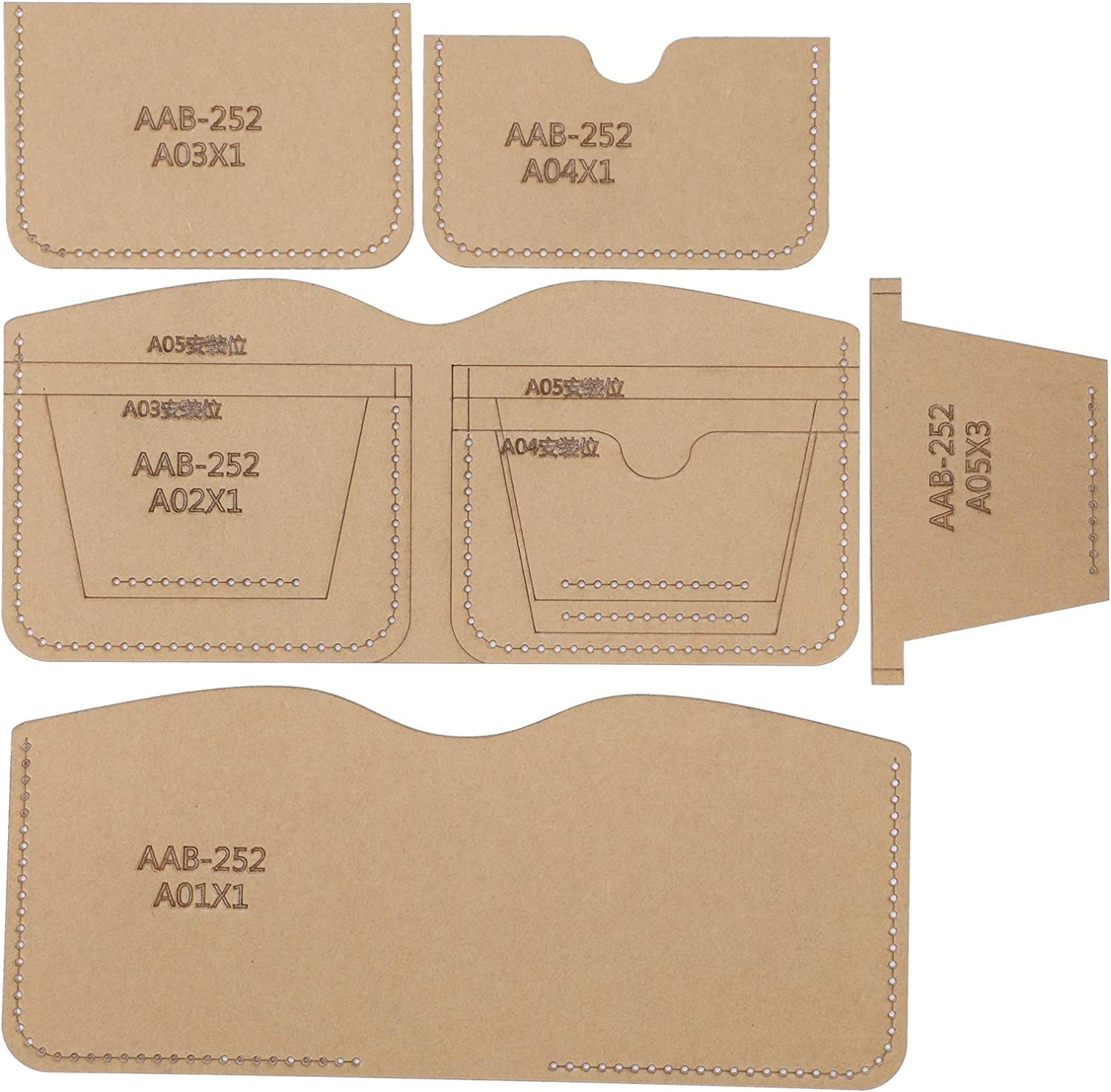 5Pcs Raleigh Mall Short Wallet Philadelphia Mall Making Acrylic Clear Template Leather