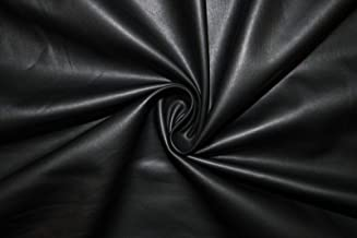 Steven_store Black Matte Pleather Faux Leather Stretch Polyester Lycra Spandex Fabric BTY - Fabric for Quilting, Sewing, Crafting, Bedding