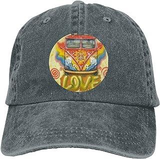 9763737dbff59 Peace Love Hippie VW Bus Print Vintage Funny Men   Women Adjustable Jeans Dad  Hat Cotton