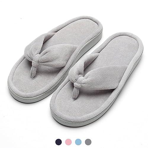 14cc2449d17 INFLATION Women s Spa Thong Flip Flops Ladies Velvet Memory Foam Slip On House  Slippers Cozy Anti
