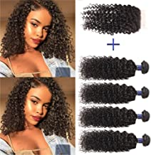 Brazilian Curly Hair Bundles with Closure 8A Unprocessed Short Bob Curly Hair Bundles with Closure 4 Bundles with 4x4 Closure Free Part (10 10 10 10 +10)