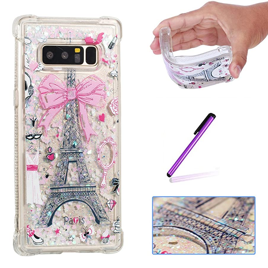 Note 8 Case Samsung Note 8 Case ISADENSER Design Air Corner Strengthen 3D Hearts Quicksand Glitter Flowing Liquid Shockproof Transparent Clear TPU Soft Protective Case for Galaxy Note 8 Paris Tower